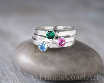 Three Birthstone Rings in Sterling Silver - Birthstone Stack Rings - Choose Birthstones - Mothers Ring  - Sterling Birthstone Stacking SET