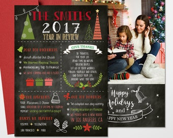 Christmas Cards - Holiday Photo Cards Black - Year In Review Christmas Photo Card, Printed Or Printable File Free Shipping ISE0022