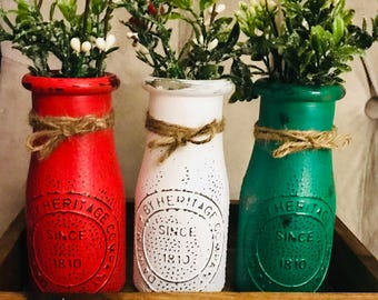 Christmas Vases, Christmas Decor, Milk bottle cases with holiday florals and tray