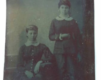 Antique Tintype Two Young Women, Sisters, One Sitting and One Standing.