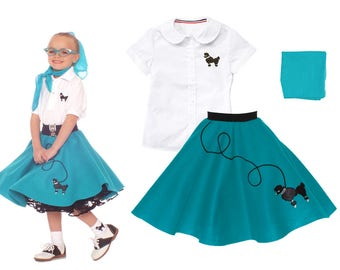 3 pc SMALL Child (4-6) 50's Poodle Skirt OUTFIT