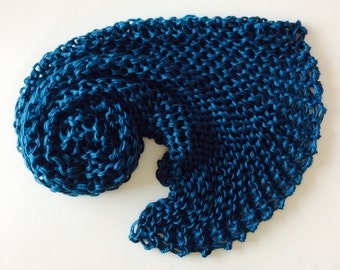 """Chunky Knit Baby Blanket, chunky baby knitted afghan, Ocean Blue, photo prop blanket, size 32"""" x 32"""""""