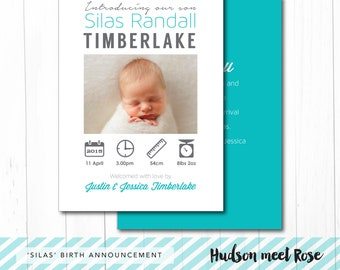 Printable - The 'Silas' Birth Announcement   Baby Thank You Card   Infographic Card