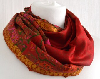 Red Gold Silk Scarf, Paisley Scarf, Silk Infinity Scarf, Sari Silk Scarf, Womens Scarves, Gift For Her, Lightweigh Scarf, Summer Scarf