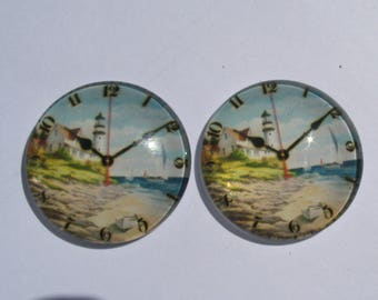 "2 cabochons 25 mm vintage clock theme ""Lighthouse"""