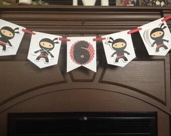 Boy or Girl Ninja Birthday Party Mini Banner