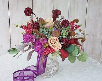 Purple and Burgundy Wedding Bouquet, with matching Boutonniere, Ready to Ship!