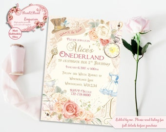 Alice in Onederland Invitation - Wonderland Invitation - 1st Birthday Invitation - Printable Invite - Alice Party Invite - 1st Girls Party