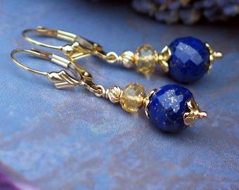 Lapis Lazuli and Citrine Earrings | Royal Blue Lapis - Golden Champagne Citrine | 14k Gold Fill Fleur de Lis Leverbacks | Ready to Ship