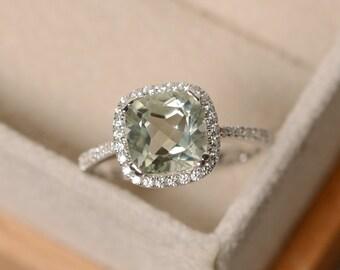 Green amethyst ring, cushion cut, sterling silver