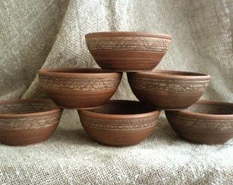 Unglazed bowl Handmade bowl Ceramic bowl Breakfast bowl Snack bowl SOUP bowl Slavic pottery Traditional pottery Dining Set Terracotta Dishes