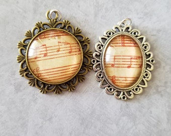 Antiqued Sheet Music Cabochon Necklace Pendant, Jewelry, Necklace, Accessory, Vintage and Antiqued Look