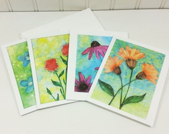 Garden Flowers Note Card Set, Watercolor Spring Summer Garden Blank Greeting Cards