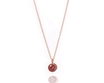 Gemstone POP Necklace - Rose Gold Necklace - Garnet Necklace - Small Gemstone Pendant Necklace - 18k Rose Gold Vermeil