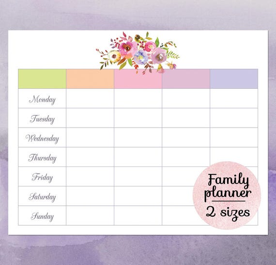 Weekly Family Calendar Template Leoncapers