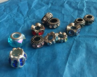 Large Hole Glass Beads/ Spacers- Pandora style