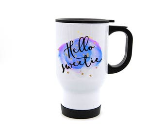 Hello Sweetie tumbler/travel mug - Whovian, the Doctor, River Song, sci-fi, watercolor dishwasher save travel tumbler