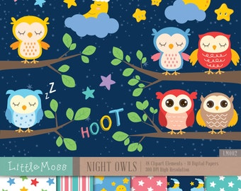 Night Owls Digital Clipart and Papers