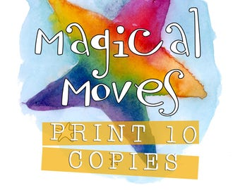 PRINT 10 COPIES of 'Magical Moves' 45 Printable Children's Yoga Cards to Download - For parents who want to share yoga with their kids