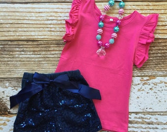 Girls Monogrammed Outfit, Monogrammed Ruffle Top, Sequin Shorts, Boutique Outfit, Monogram Tee, Sequined, Monogrammed Outfit, Monogram