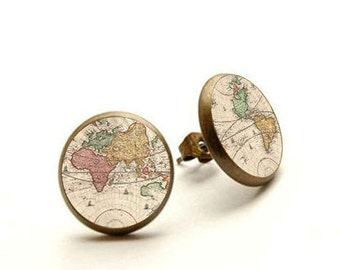 World Map Earrings Post, Earth Stud Earrings, Simple Earrings, Globe Earth Earrings, Gift For Her, World Map Jewelry, Hypoallergenic Jewelry