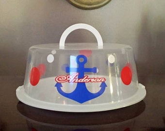 Personalized Anchor Cake Holder, Cookie Carrier, Browniee Holder, Dessert Carrier