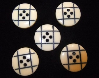 Vintage Ivory and Navy Blue Buttons, Set of 5