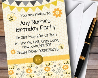 Yellow And Black Cute Bumble Bee Honeycomb Children's Kids Party Personalised Invitations
