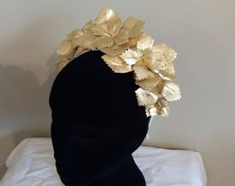 Gold Leather Crown Head Piece