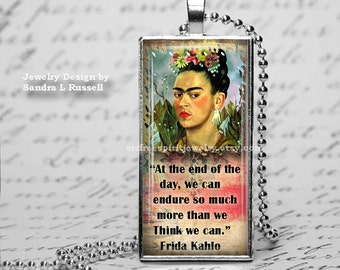 Frida Kahlo Jewelry, Quote Charm, Frida Quote Necklace, Boho Jewelry,  Feminist Artist,  Woman Artist, Mexican Artist  Frida Kahlo gift