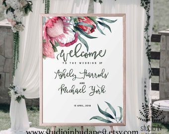 Welcome Sign, Wedding Welcome Sign, protea Wedding Sign, protea Reception Sign, protea wedding poster, PRINTABLE