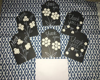 Set of 6 Blank Thank You cards