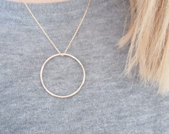 750 gold plated Circle Pendant Necklace / gold plated necklace