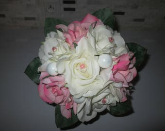 Ecru and pink roses bridal bouquet artificial