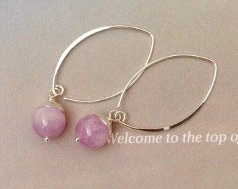 Kunzite Earrings - minimalist sterling silver, kunzite jewelry, silver earrings, lilac gemstone, dangle earrings,natural gemstone