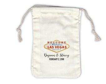 Las Vegas Wedding Personalized Cotton Bags - Ivory Fabric Drawstring Bags - Set of 12 (1048)