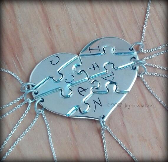 7 piece puzzle heart necklace. 7 best friend puzzle heart