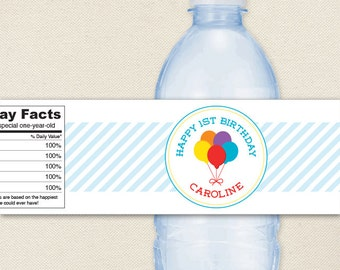 Balloons Party - 100% waterproof personalized water bottle labels