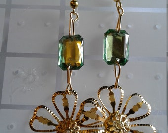 gold plated and plastic dangle earrings
