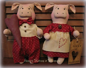 "Primitive Artist Valentine's Day ""Hogs & Kisses"" Piggy Couple-Set of Two"