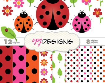 Ladybug Clipart & Digital Paper Printable Scrapbooking Background