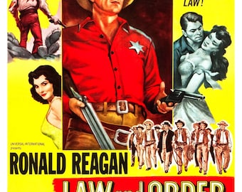 "Ronald Reagan - Law and Order - Home Theater Decor - Classic Western Movie Poster Print  13""x19"" - Vintage Movie Poster - Cowboy Western"