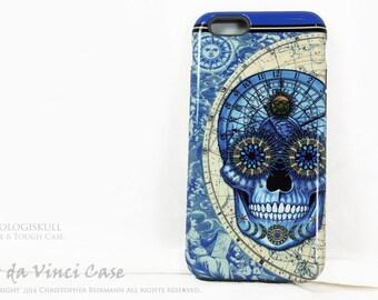Blue Skull iPhone 6 6s Case - Steampunk iPhone 6s Case - Astrologiskull - Artistic Astrology Sugar Skull iPhone 6s Premium Dual Layer Case
