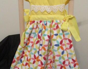 kitchen dress yellow/rainbow print