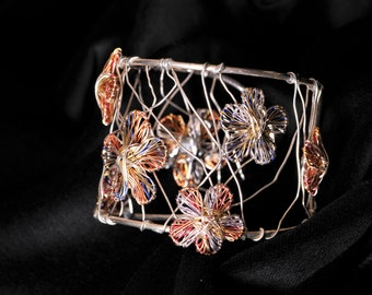 Flower bracelet, orange blue, wide bracelet, solid silver bangle, wire sculpture, modern art jewelry, hippie, Christmas, bridesmaid gift
