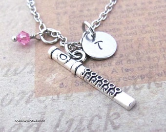 Flute Charm Necklace, Personalized Antique Silver Hand Stamped  Initial Birthstone, Soprano Flute Charm Necklace
