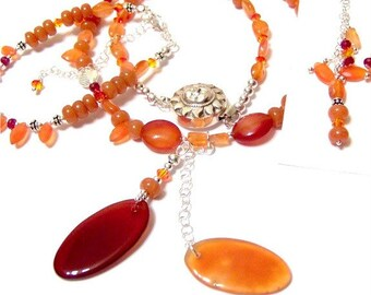 Tequila Sunrise Signature Set Featuring Carnelian Rubies and Fire Opal Swarovski Crystals must have for orange and red fans