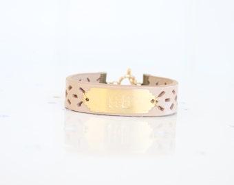 Personalized Bracelet, Monogram Leather Bracelet, Custom Initial Bracelet, Nude, Personalized Jewelry, Name Bracelet, Custom Name Bracelet