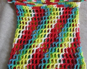 Market Tote Bag cotton, multi-color Crochet Carry All Tote
