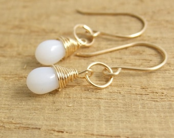 Earrings with Milky White, Glass Teardrops and 14 K Gold Filled Loops Wire Wrapped with 14 K Gold Filled Wire GCHE-10